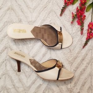 Michael Kors MK Plate Slides Cream Sandals 8.5